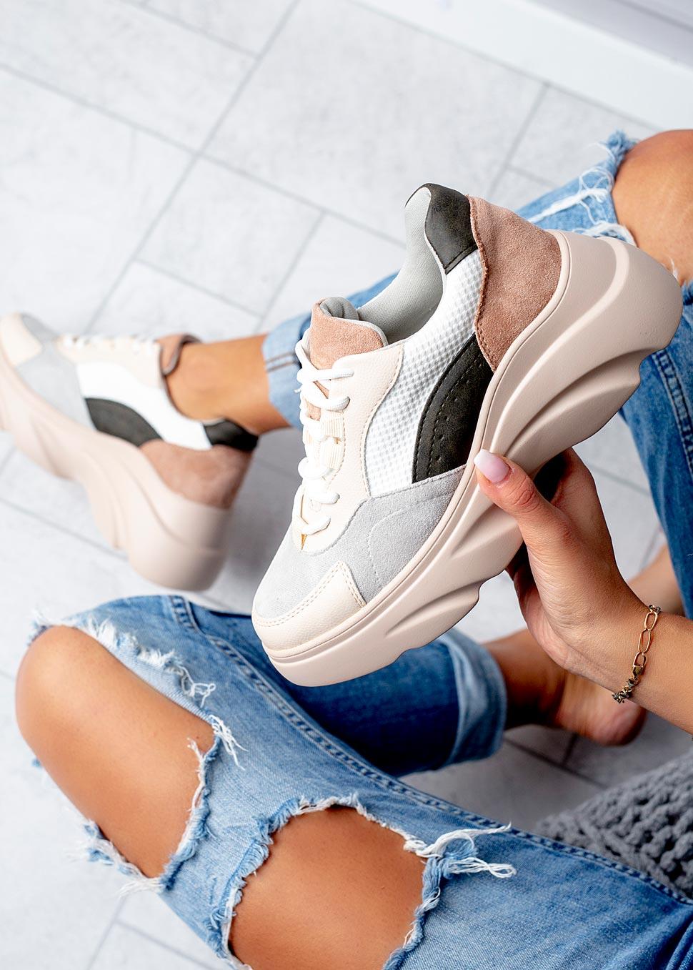 Beżowe buty sportowe sneakersy sznurowane Casu  kolor beżowy, multi kolor