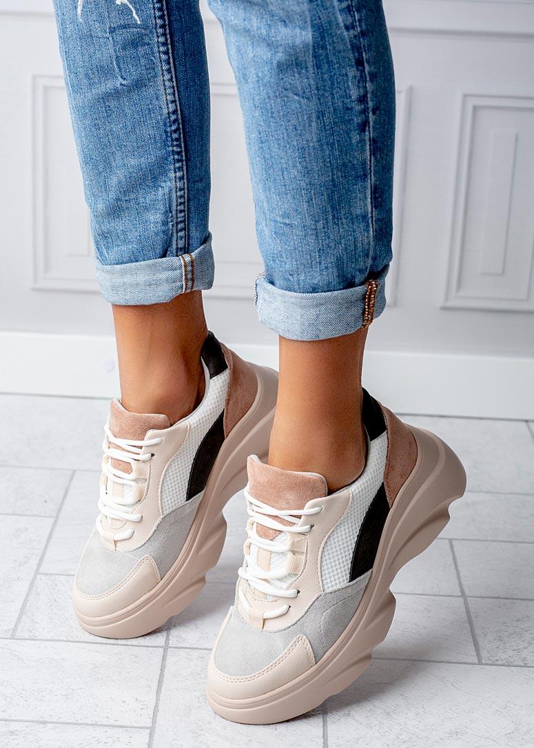 Beżowe buty sportowe sneakersy sznurowane Casu  wysokosc_obcasa 6.5 cm