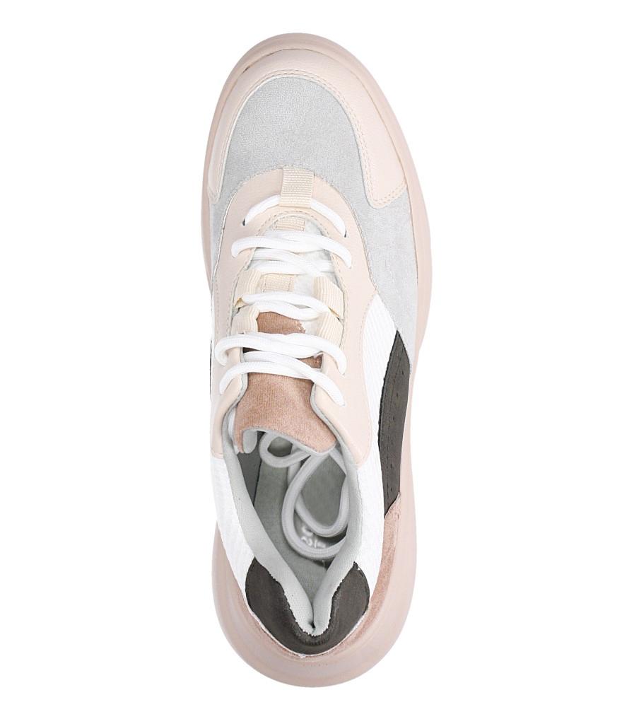 Beżowe buty sportowe sneakersy sznurowane Casu  wierzch materiał/skóra ekologiczna