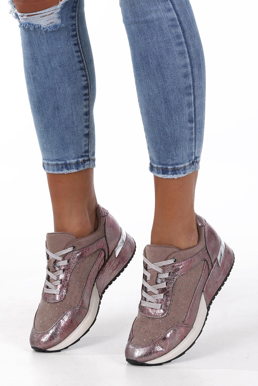 Beżowe buty sportowe sneakersy sznurowane z dżetami Sergio Leone SP005 beżowy