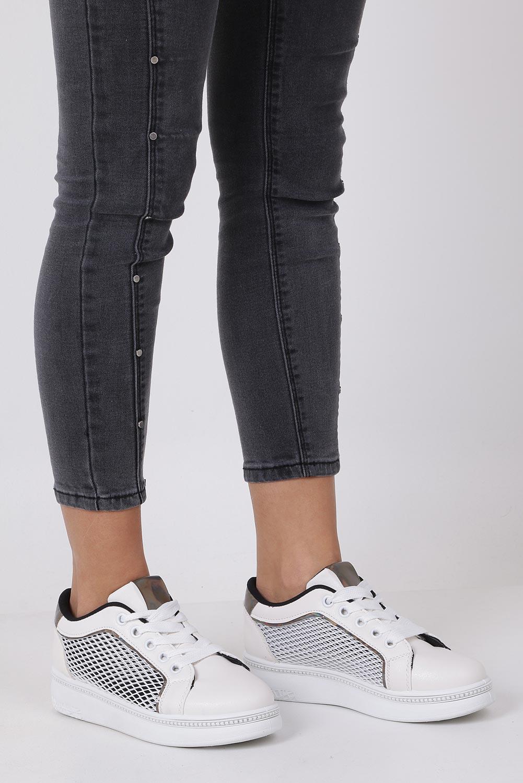 Beżowe buty sportowe sneakersy sznurowane z siateczką Casu 7-K682A