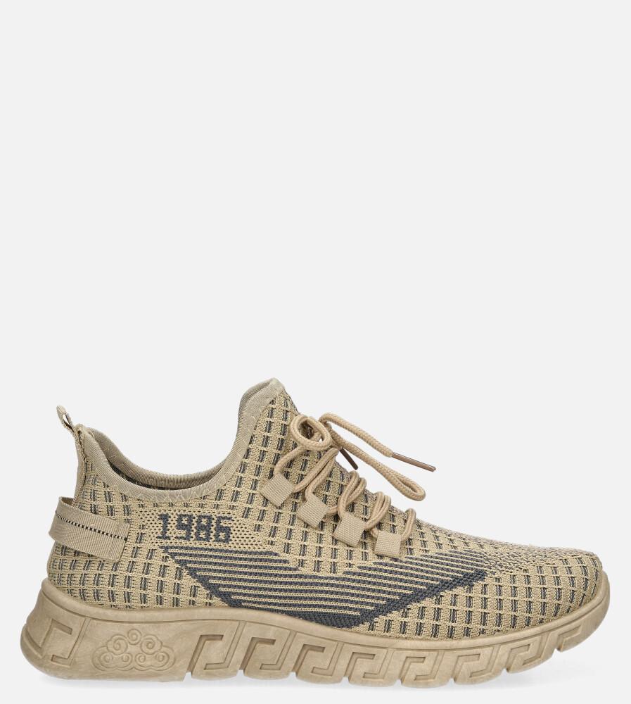 Beżowe buty sportowe sznurowane Casu 20A16/C