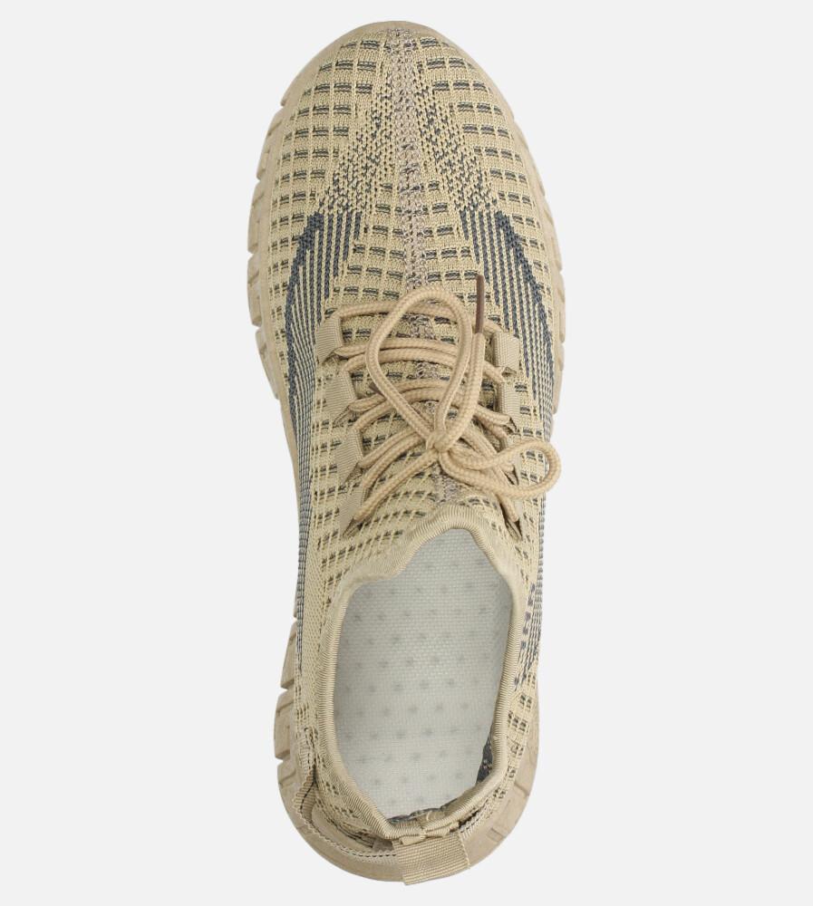 Beżowe buty sportowe sznurowane Casu 20A16/C wysokosc_obcasa 4 cm