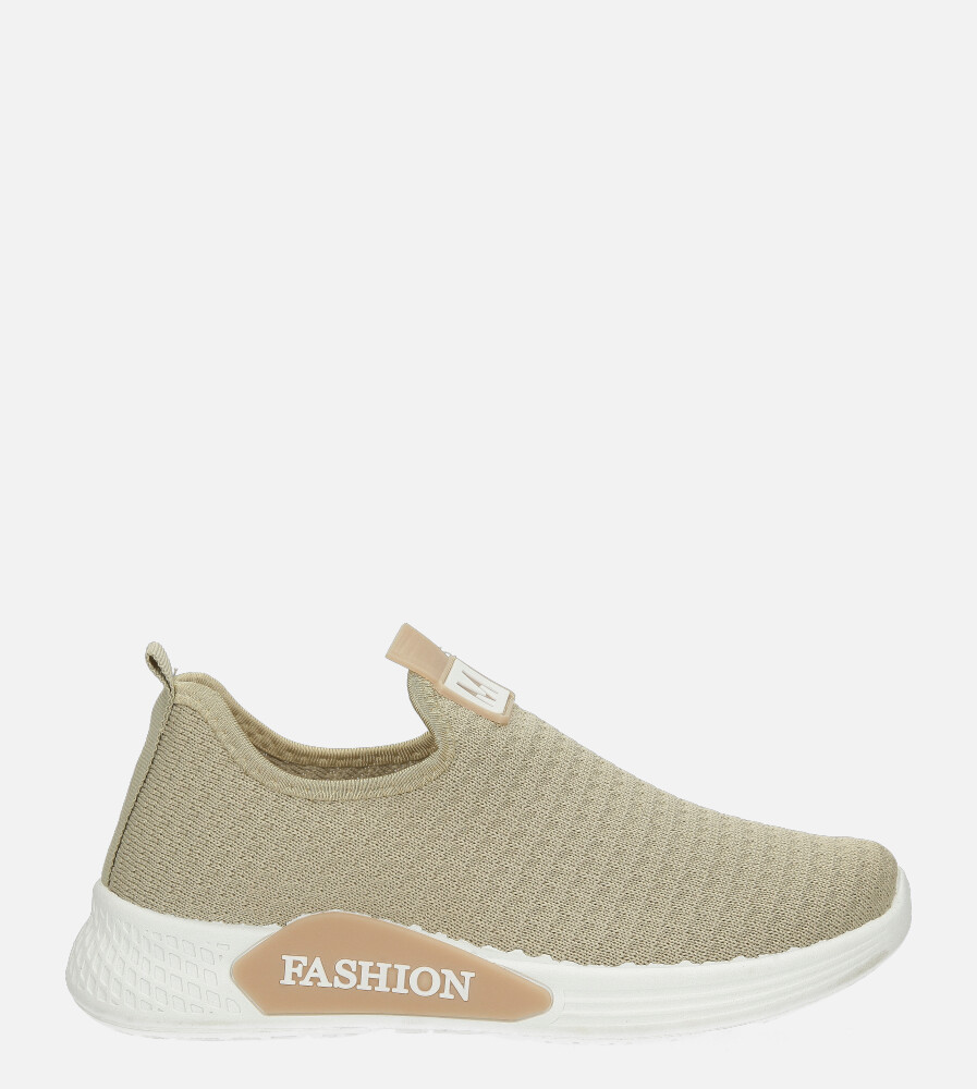 Beżowe buty sportowe wsuwane Casu 20P5/M