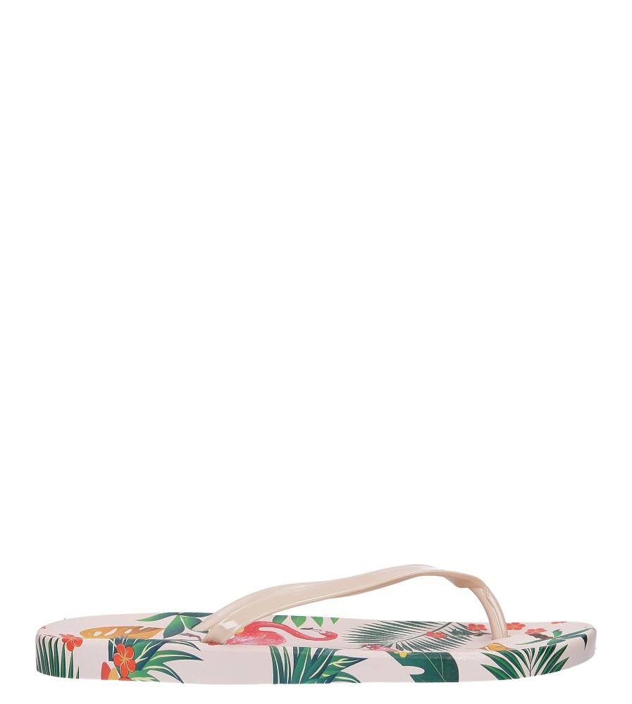 Beżowe klapki japonki basenowe z flamingami Casu A2168