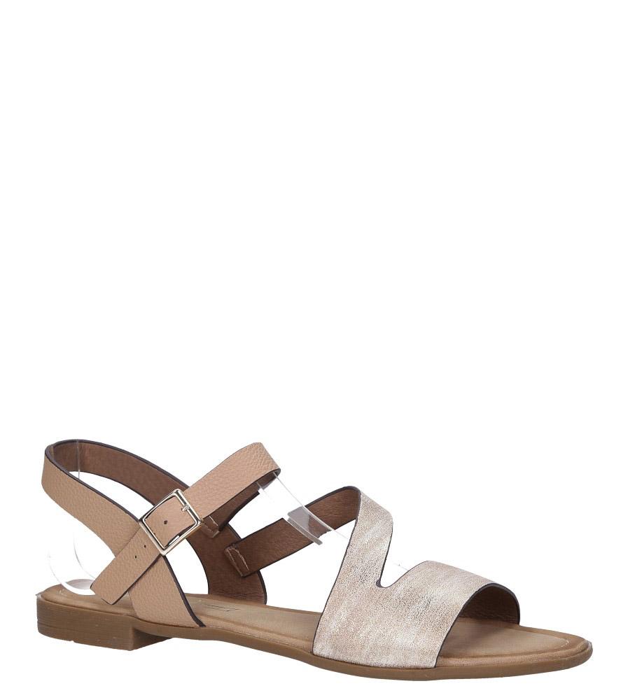 Beżowe lekkie sandały płaskie błyszczące Casu K19X9/BE