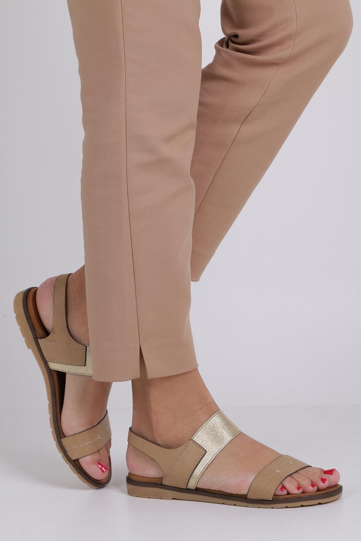 Beżowe lekkie sandały płaskie z błyszczącą gumką Casu K19X7/T kolor beżowy, złoty
