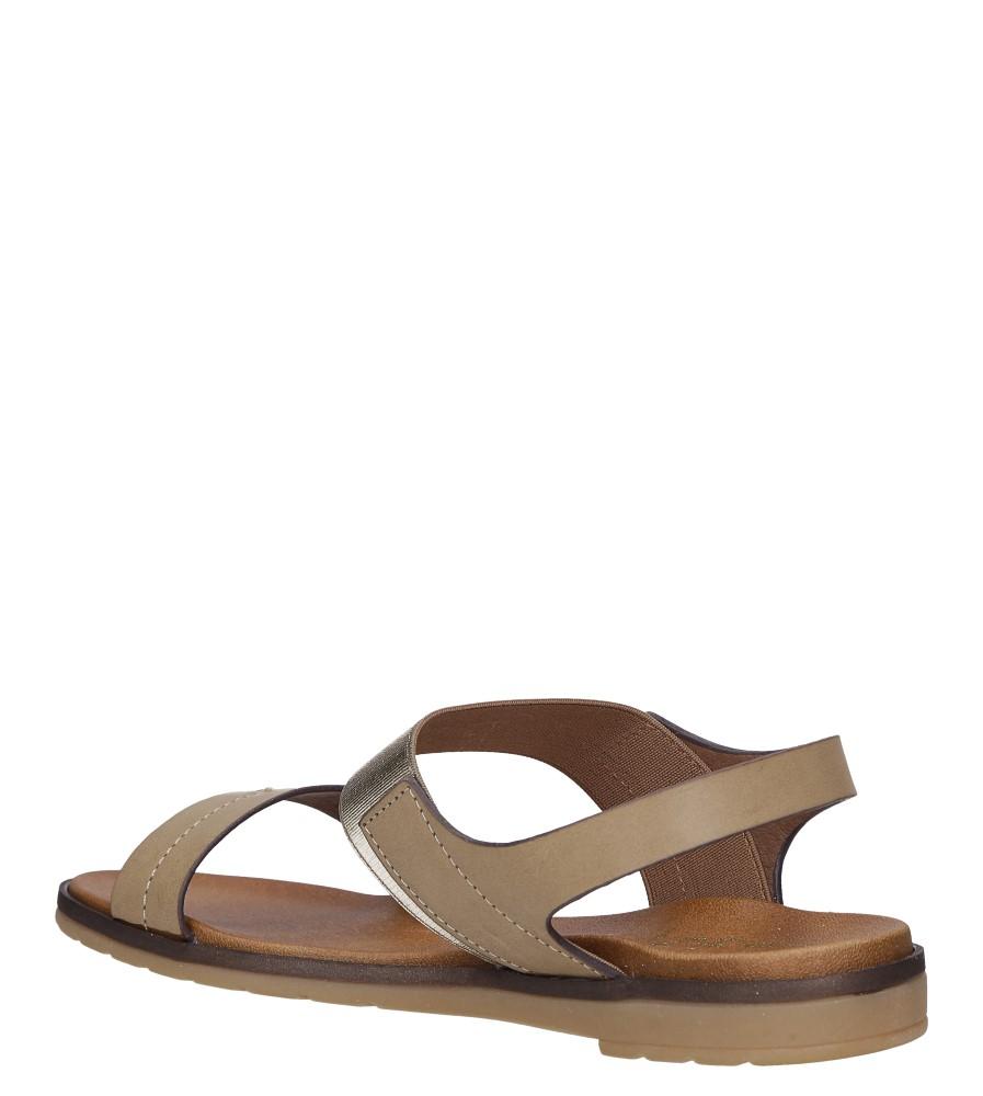 Beżowe lekkie sandały płaskie z błyszczącą gumką Casu K19X7/T wys_calkowita_buta 12 cm