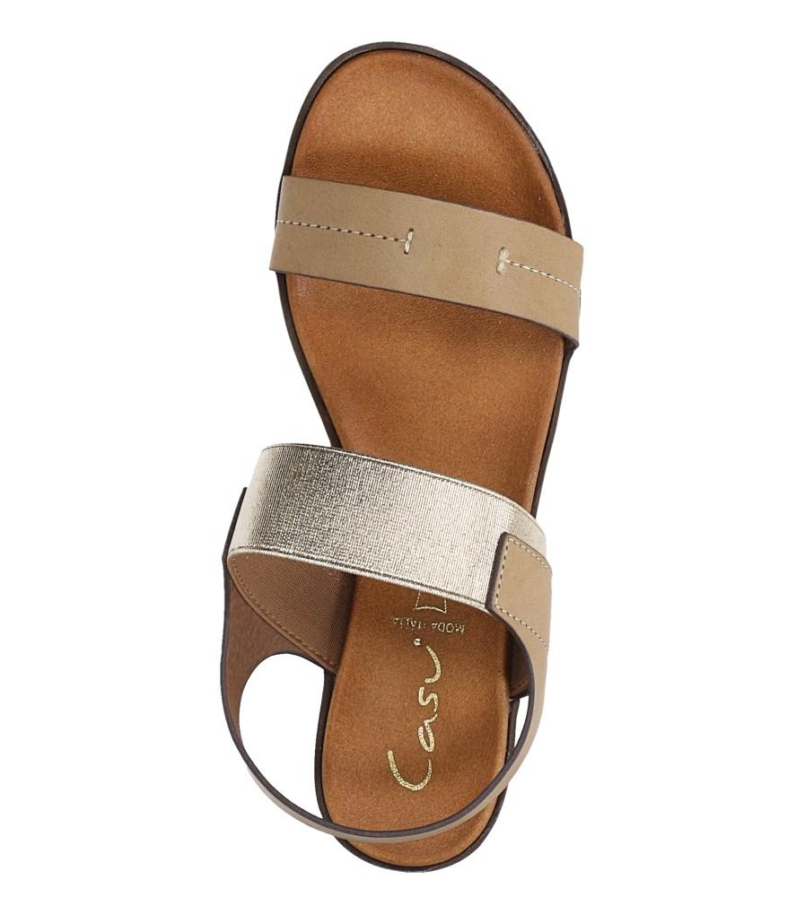 Beżowe lekkie sandały płaskie z błyszczącą gumką Casu K19X7/T wierzch skóra ekologiczna