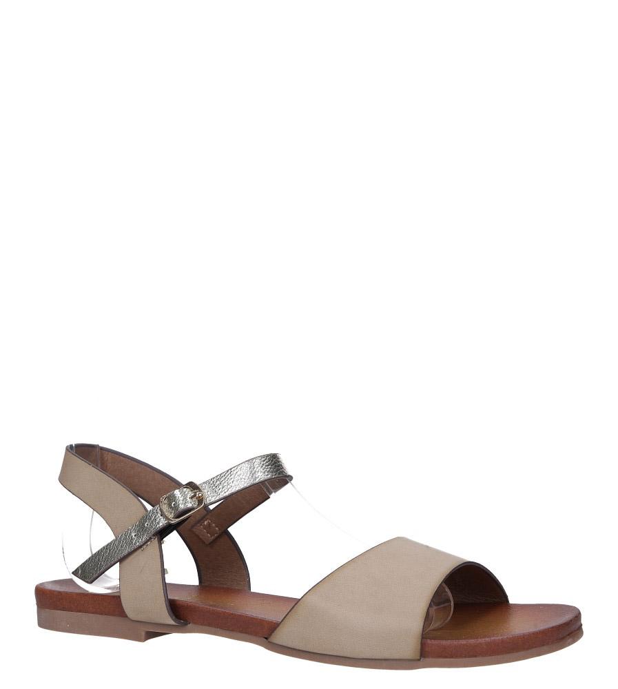 Beżowe lekkie sandały płaskie z błyszczącym paskiem Casu K19X11/T