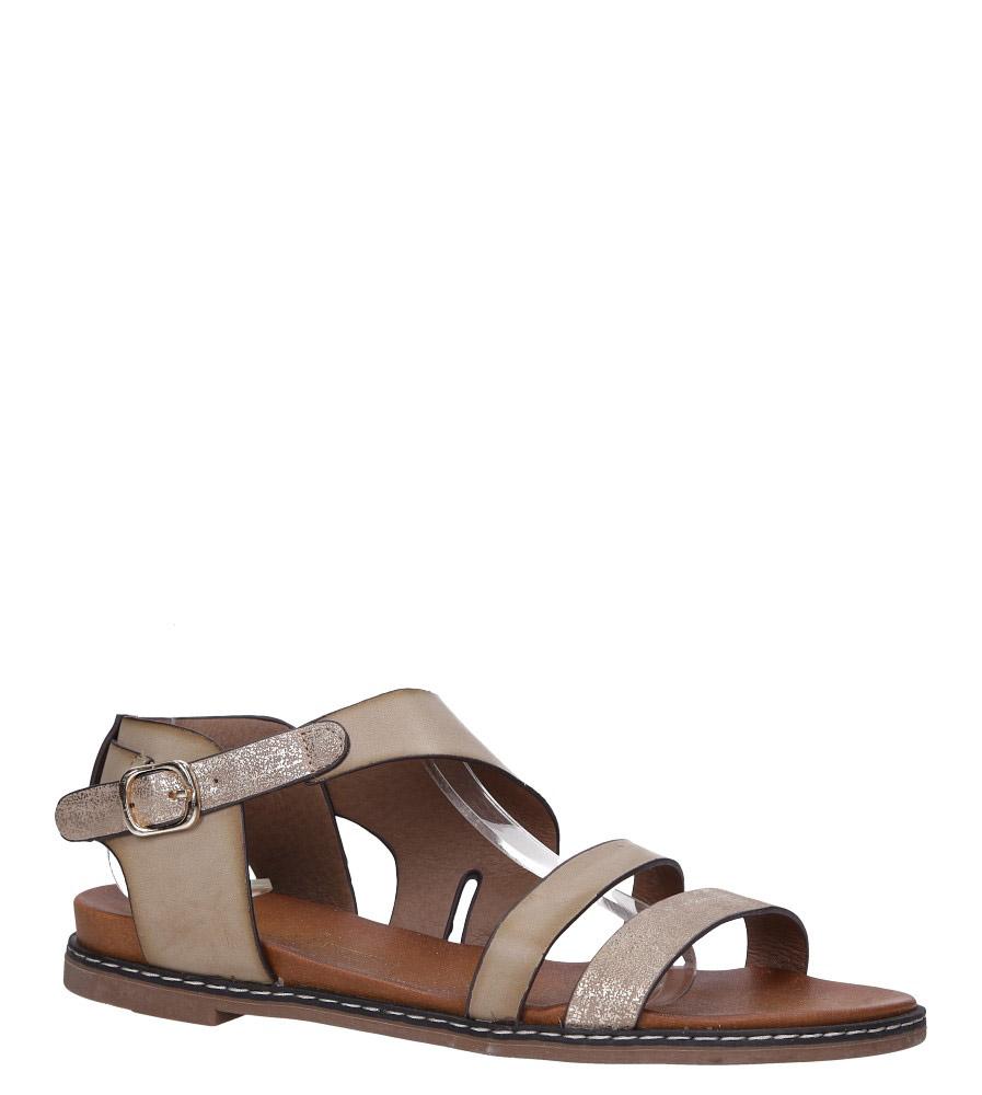 Beżowe lekkie sandały płaskie z błyszczącym paskiem Casu K19X15/T