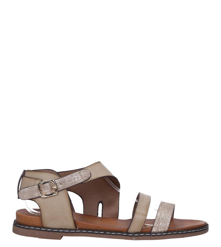 Beżowe lekkie sandały płaskie z błyszczącym paskiem Casu K19X15/T wysokosc_platformy 1.5 cm