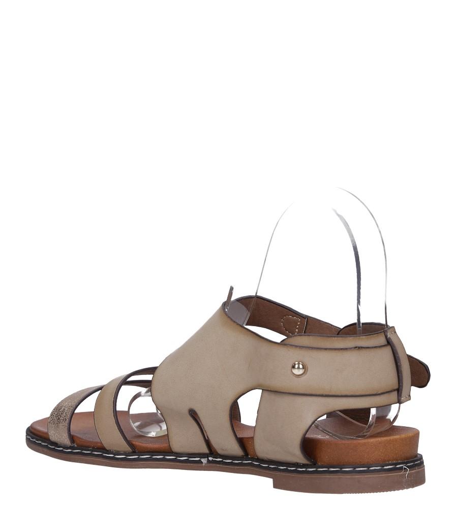 Beżowe lekkie sandały płaskie z błyszczącym paskiem Casu K19X15/T wys_calkowita_buta 8 cm