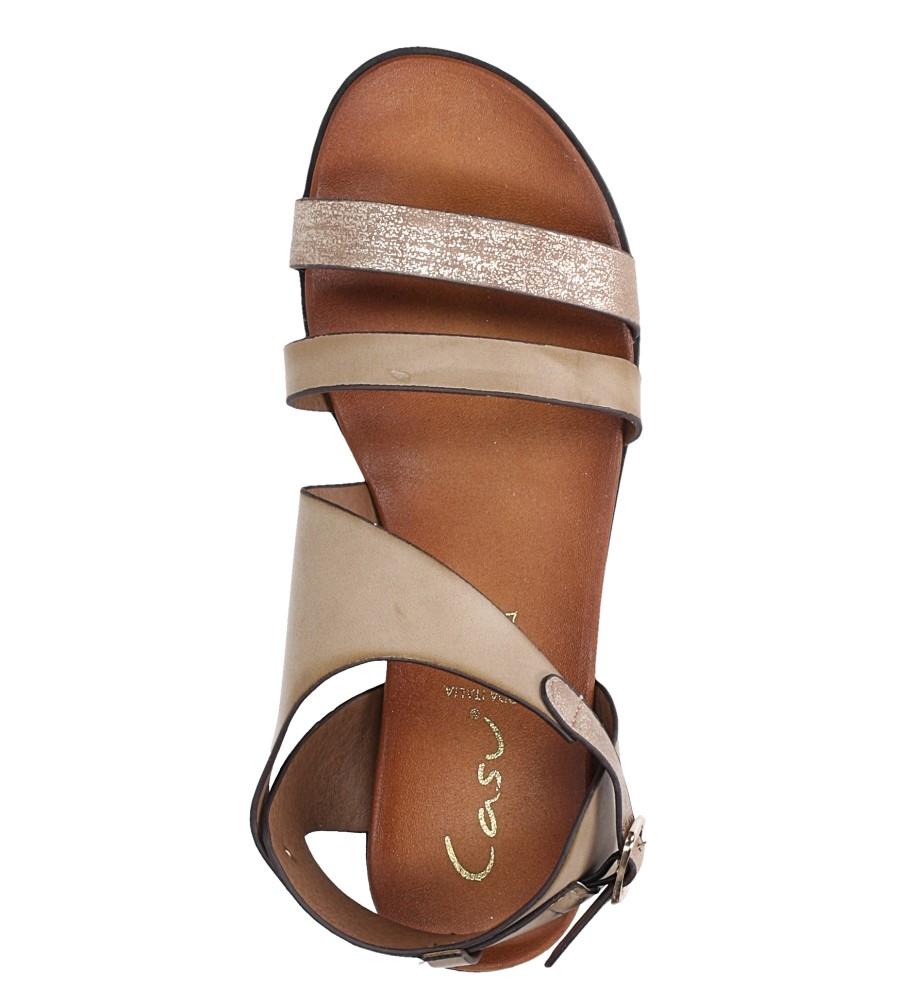 Beżowe lekkie sandały płaskie z błyszczącym paskiem Casu K19X15/T wierzch skóra ekologiczna