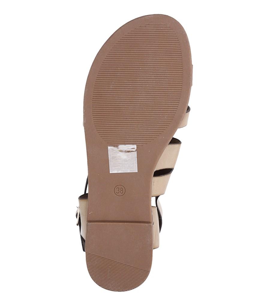 Beżowe lekkie sandały płaskie z błyszczącym paskiem Casu K19X15/T wnetrze skóra ekologiczna