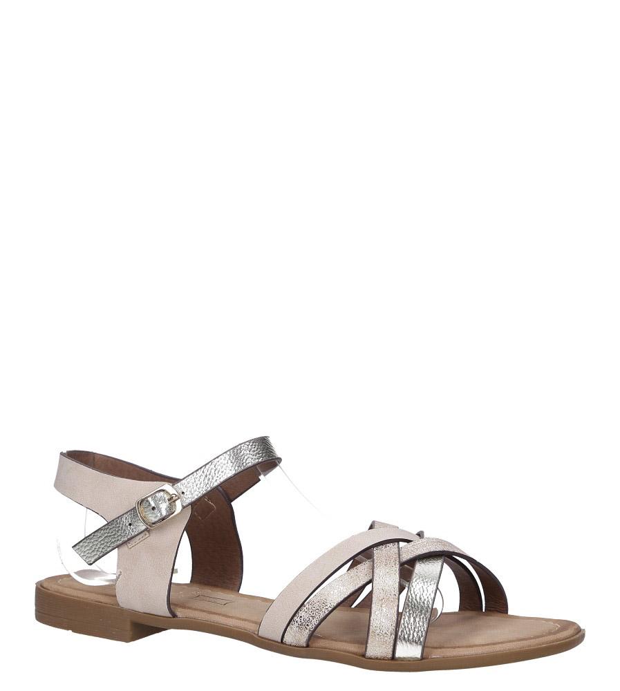 Beżowe lekkie sandały płaskie z błyszczącymi paskami na krzyż Casu K19X8/BE