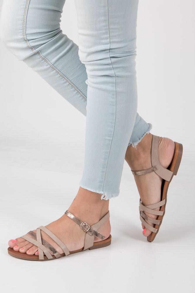 Beżowe letnie sandały płaskie Casu K18X7/T
