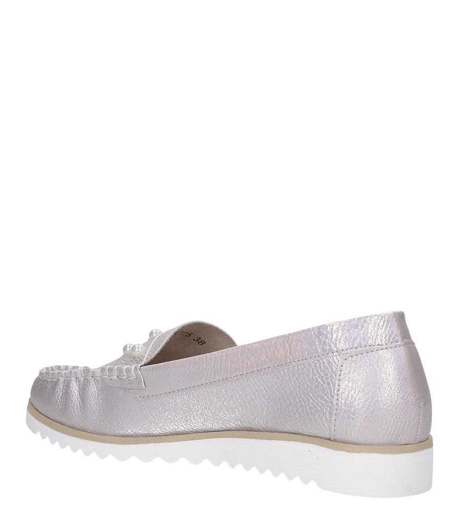 Beżowe mokasyny błyszczące z perełkami Sergio Leone MK725 wys_calkowita_buta 7.5 cm