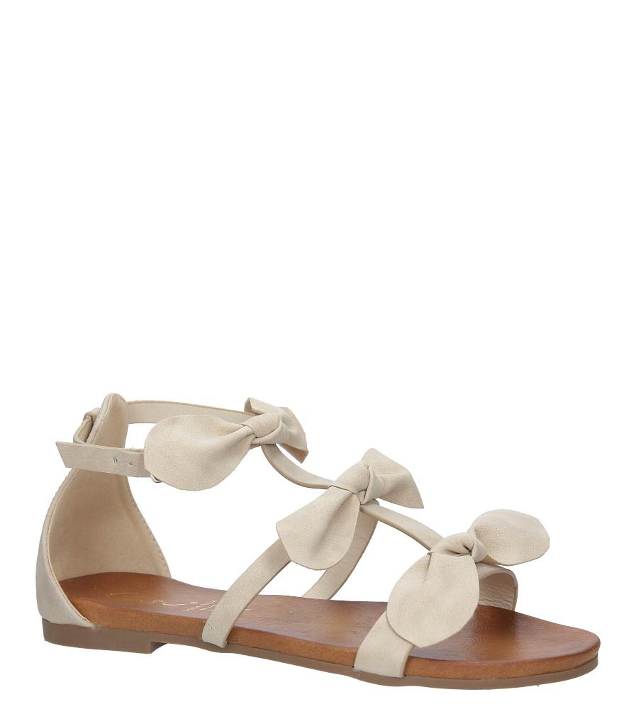 Beżowe płaskie sandały z kokardkami z zakrytą piętą Casu K18X14/BE producent Casu