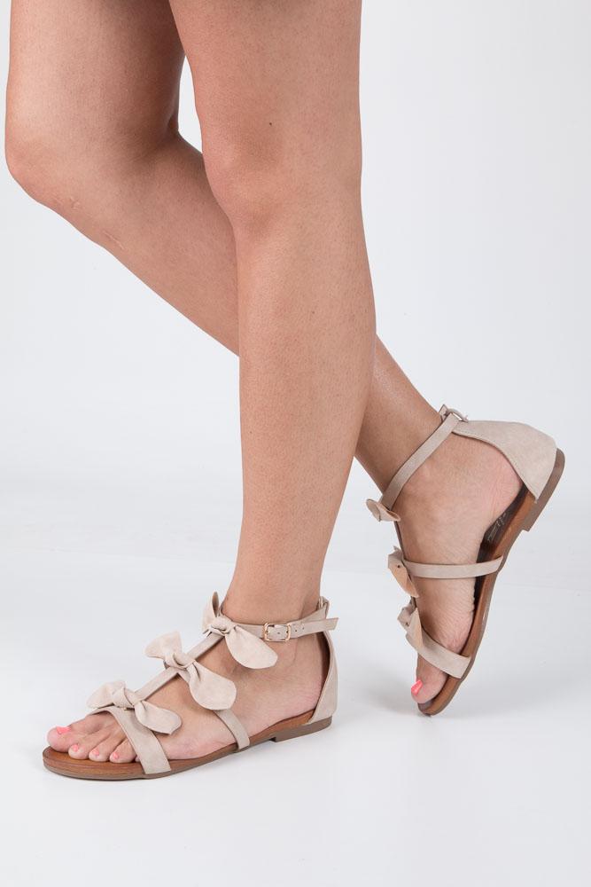 Beżowe płaskie sandały z kokardkami z zakrytą piętą Casu K18X14/BE