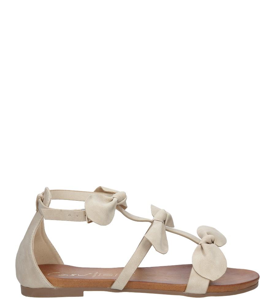 Beżowe płaskie sandały z kokardkami z zakrytą piętą Casu K18X14/BE sezon Lato