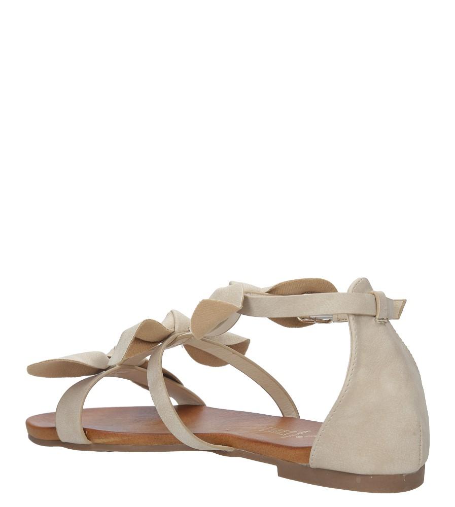 Beżowe płaskie sandały z kokardkami z zakrytą piętą Casu K18X14/BE wysokosc_obcasa 3.5 cm