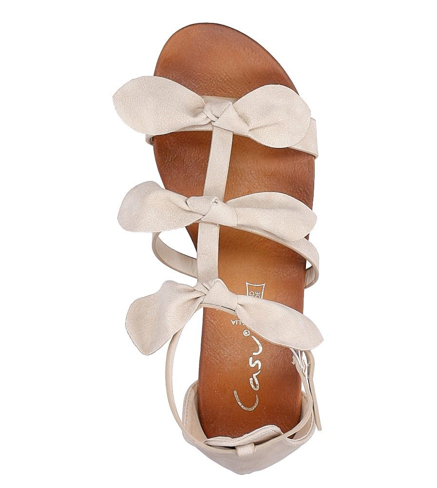 Beżowe płaskie sandały z kokardkami z zakrytą piętą Casu K18X14/BE wysokosc_platformy 2 cm