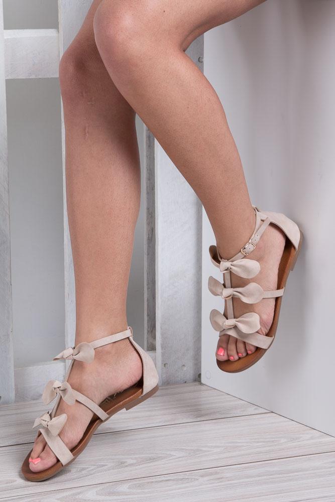 Beżowe płaskie sandały z kokardkami z zakrytą piętą Casu K18X14/BE wkladka skóra ekologiczna