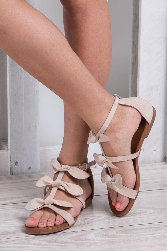 Beżowe płaskie sandały z kokardkami z zakrytą piętą Casu K18X14/BE material_obcasa wysokogatunkowe tworzywo