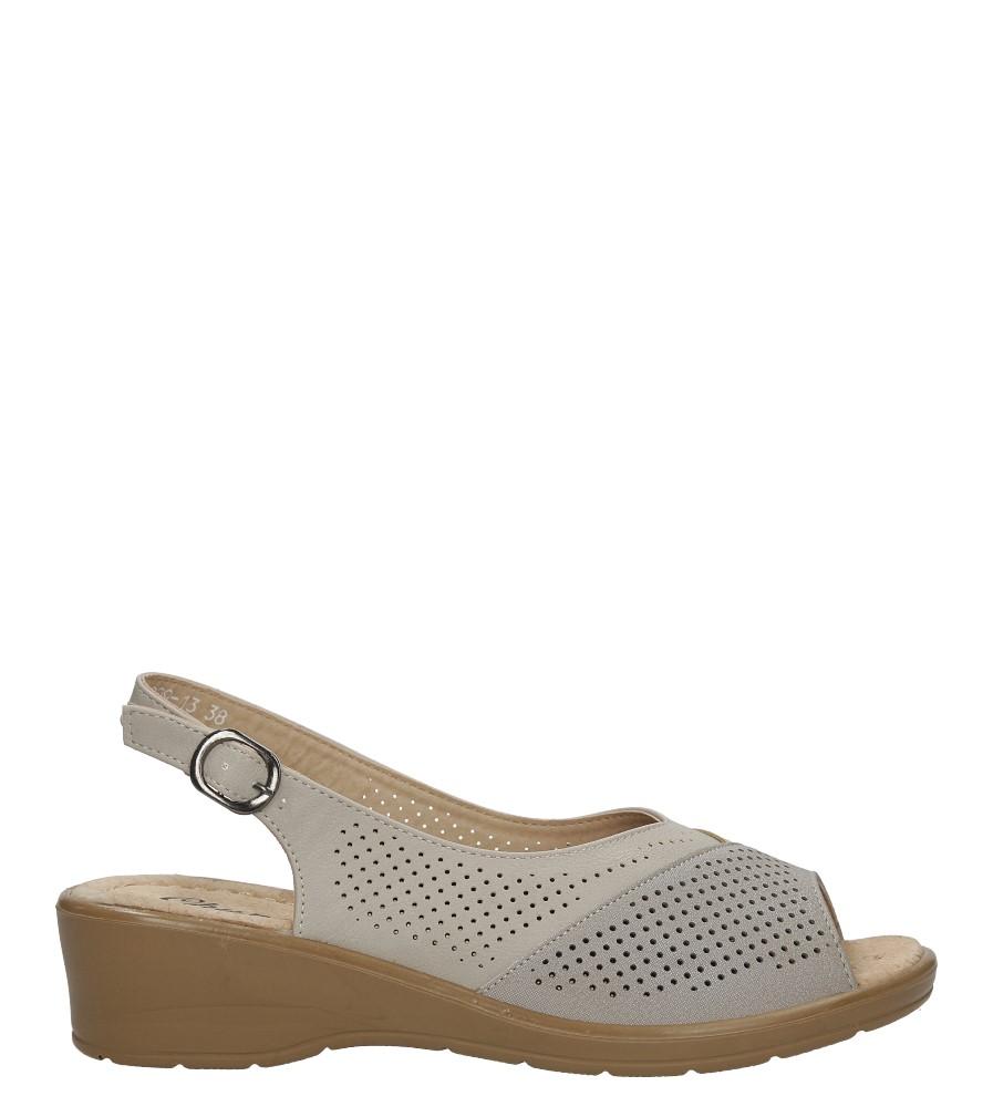Beżowe sandały ażurowe na koturnie Casu B209-13 jasny beżowy