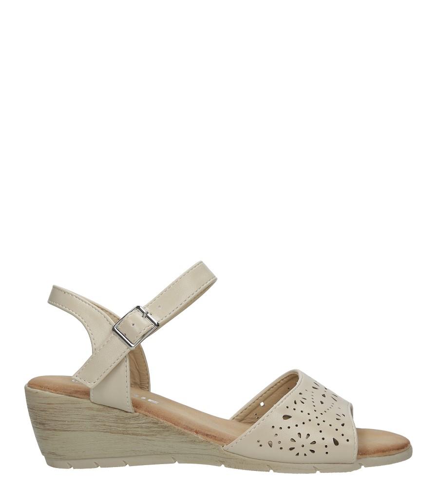 Beżowe sandały ażurowe na koturnie Casu CJ-12