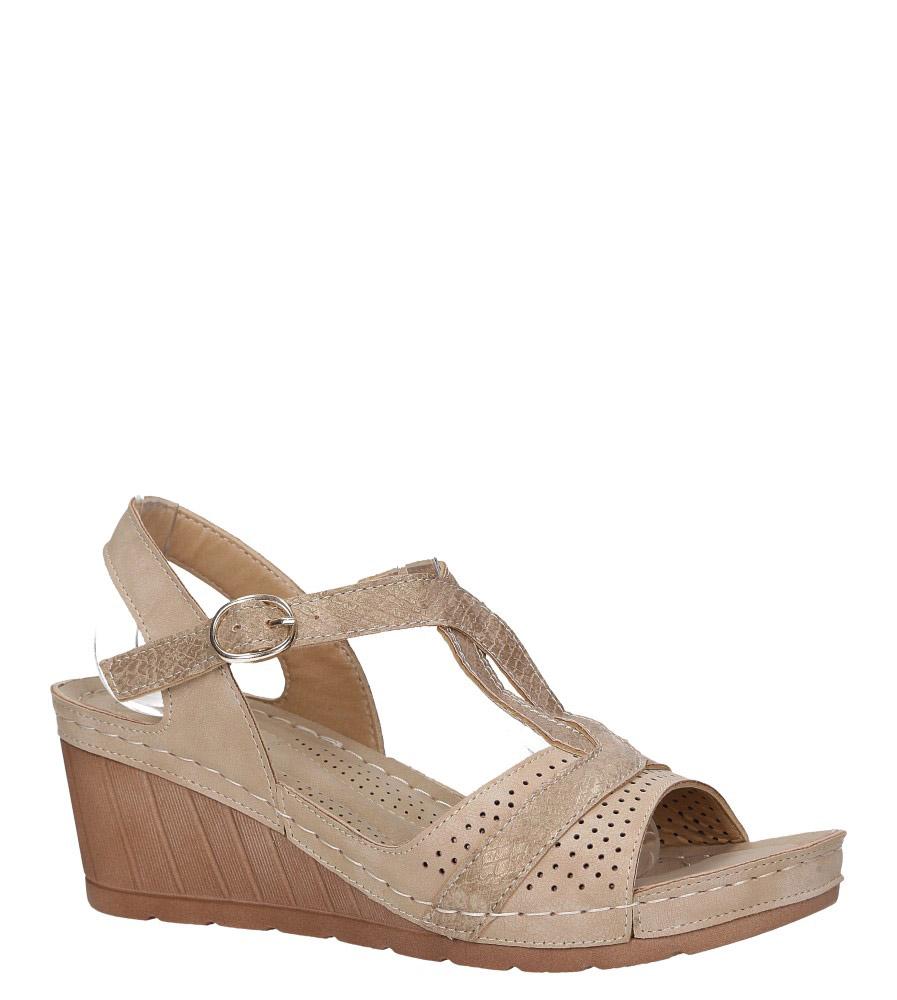 Beżowe sandały ażurowe na koturnie Casu SN19X7/BE