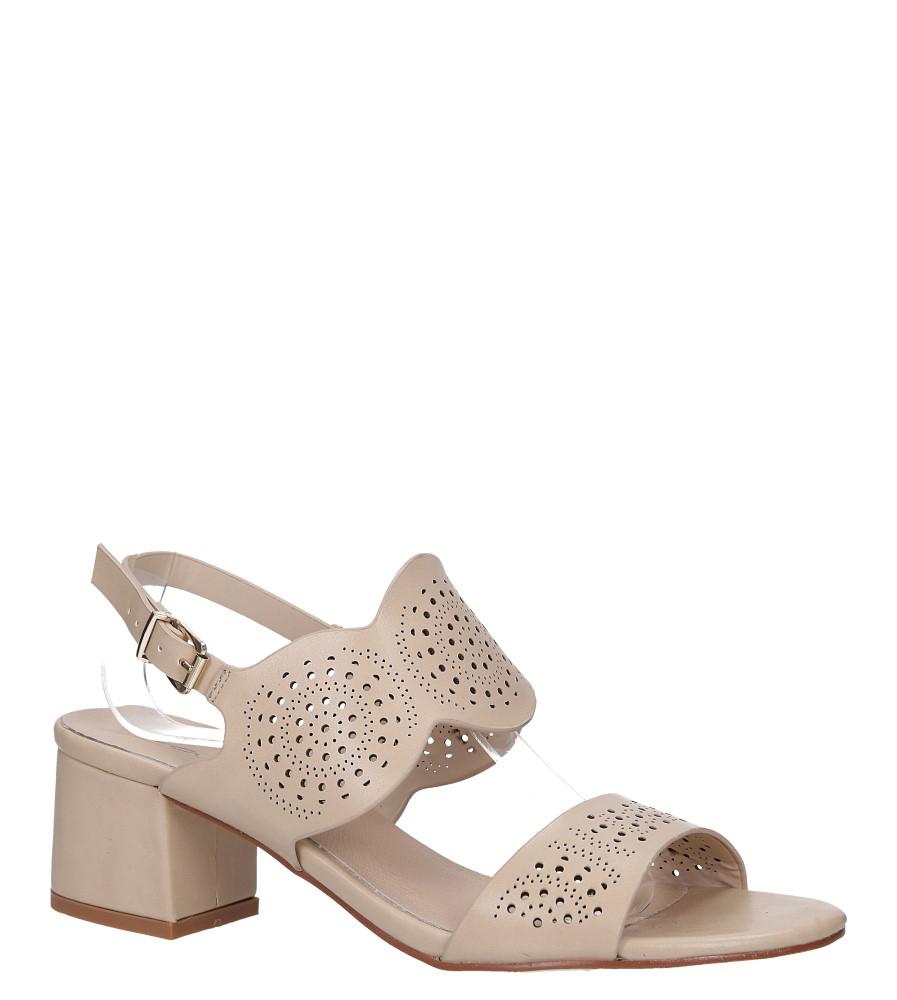 Beżowe sandały ażurowe na niskim obcasie skórzana wkładka Casu R19X4/BE model R19X4/BE