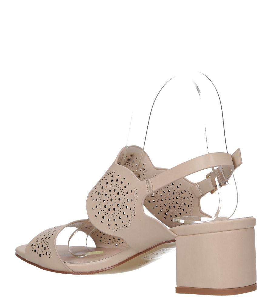 Beżowe sandały ażurowe na niskim obcasie skórzana wkładka Casu R19X4/BE wysokosc_platformy 0.5 cm