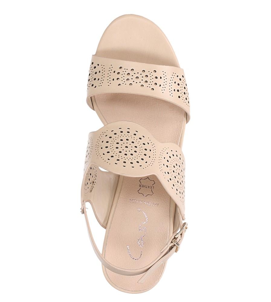 Beżowe sandały ażurowe na niskim obcasie skórzana wkładka Casu R19X4/BE wys_calkowita_buta 14 cm