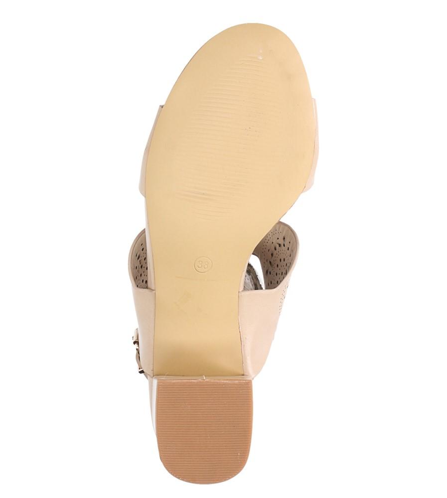 Beżowe sandały ażurowe na niskim obcasie skórzana wkładka Casu R19X4/BE wierzch skóra ekologiczna
