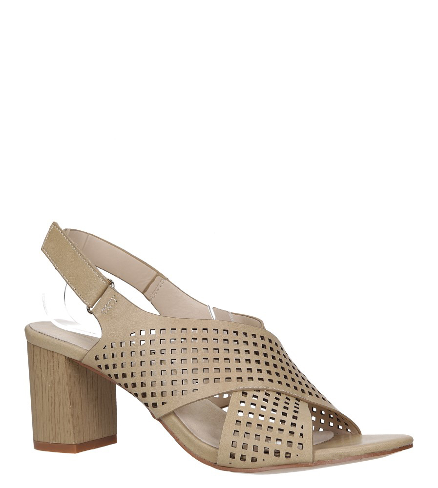 Beżowe sandały ażurowe na słupku z paskiem na krzyż skórzana wkładka Casu R19X10/BE