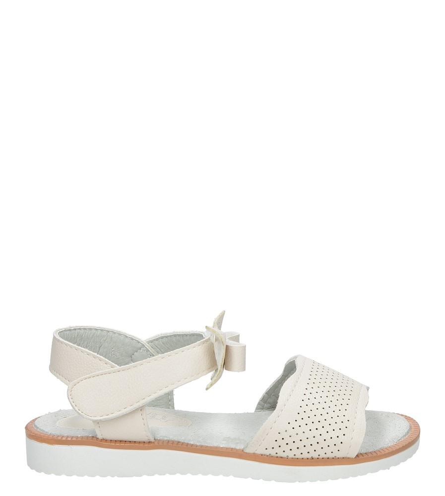 Beżowe sandały ażurowe z kokardą na rzep S.Barski 1195-A1