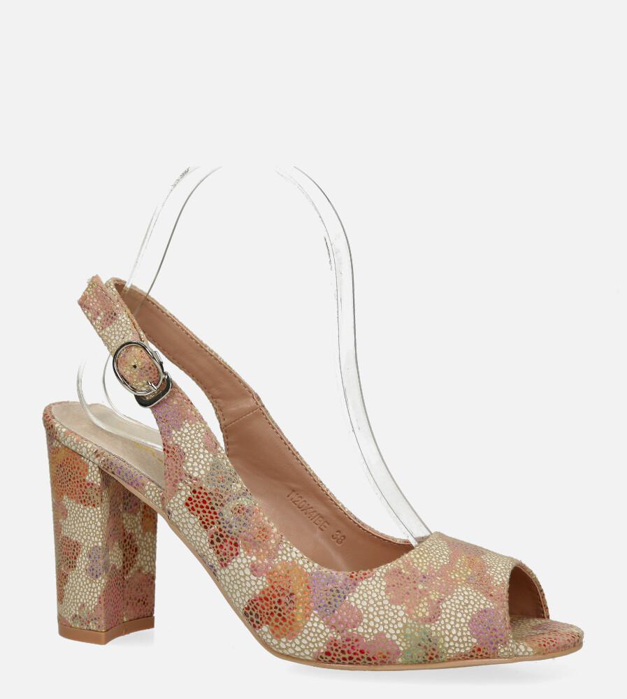Beżowe sandały Casu na ozdobnym słupku ze skórzaną wkładką wzorek N20X4/BE