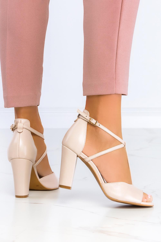 Beżowe sandały Casu t-bar na słupku z zakrytą piętą polska skóra 2296 beżowy