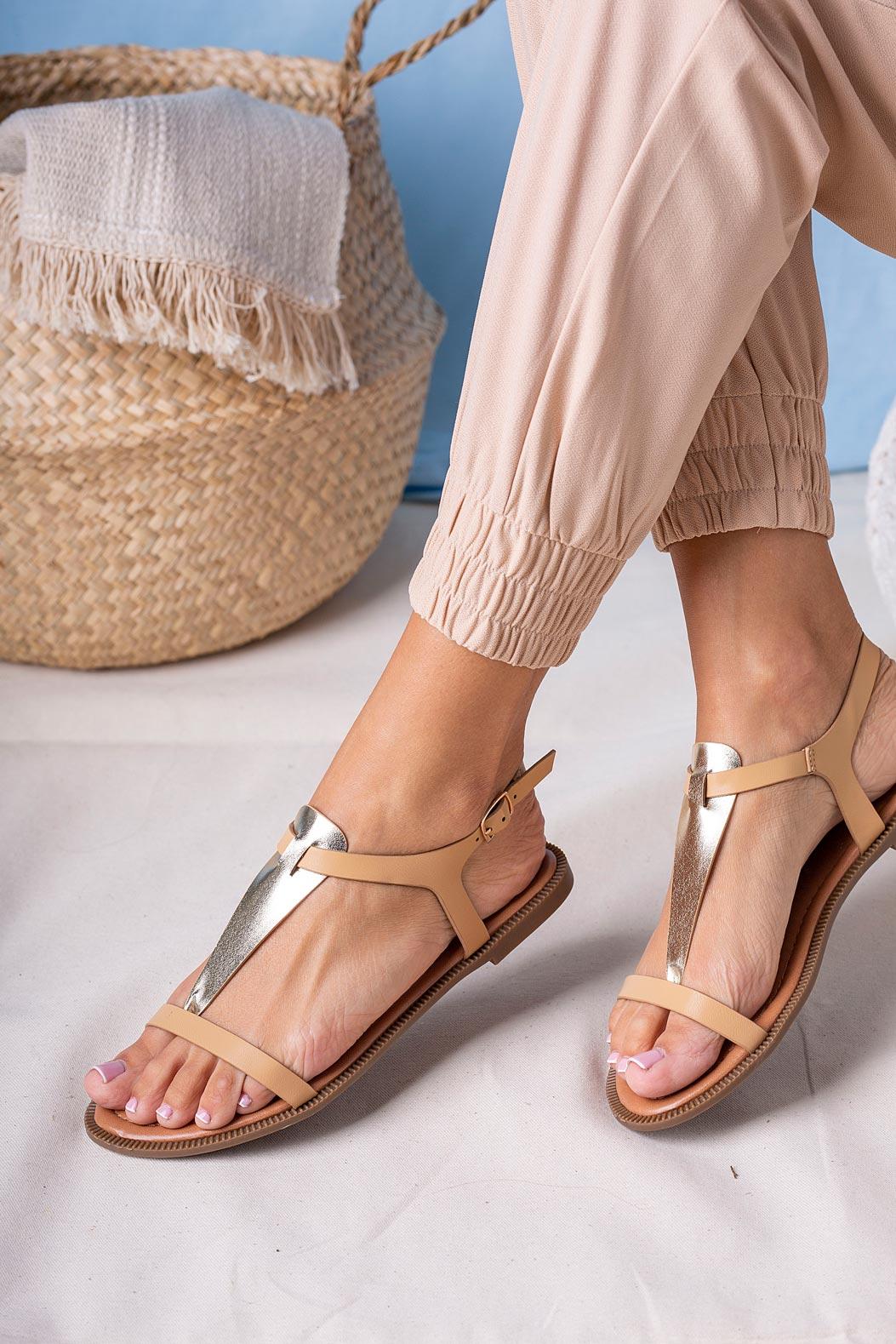 Beżowe sandały japonki płaskie Casu SN20X2/BE beżowy