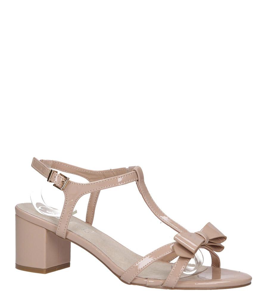 Beżowe sandały lakierowane ze skórzaną wkładką na niskim obcasie kokardka Casu N19X1/BE