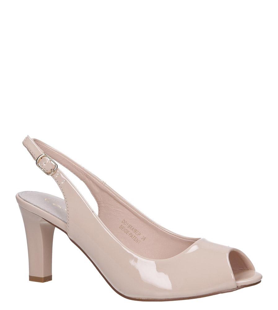Beżowe sandały lakierowane ze skórzaną wkładką na słupku Casu DD19X4/BEP jasny beżowy