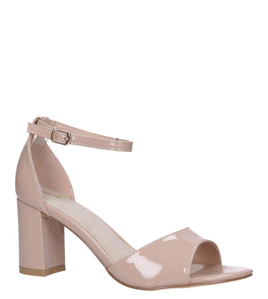 Beżowe sandały lakierowane ze skórzaną wkładką z zakrytą piętą i paskiem wokół kostki Casu N19X4/NP model N19X4/NP