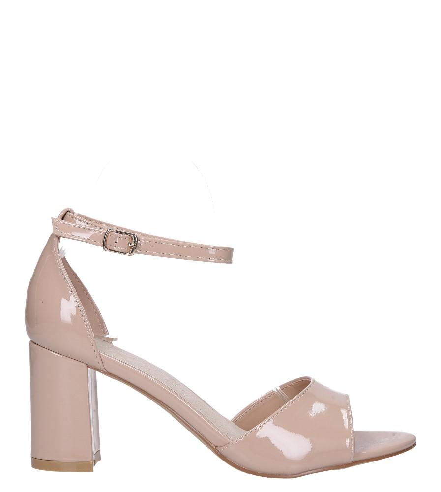 Beżowe sandały lakierowane ze skórzaną wkładką z zakrytą piętą i paskiem wokół kostki Casu N19X4/NP wysokosc_obcasa 7.5 cm