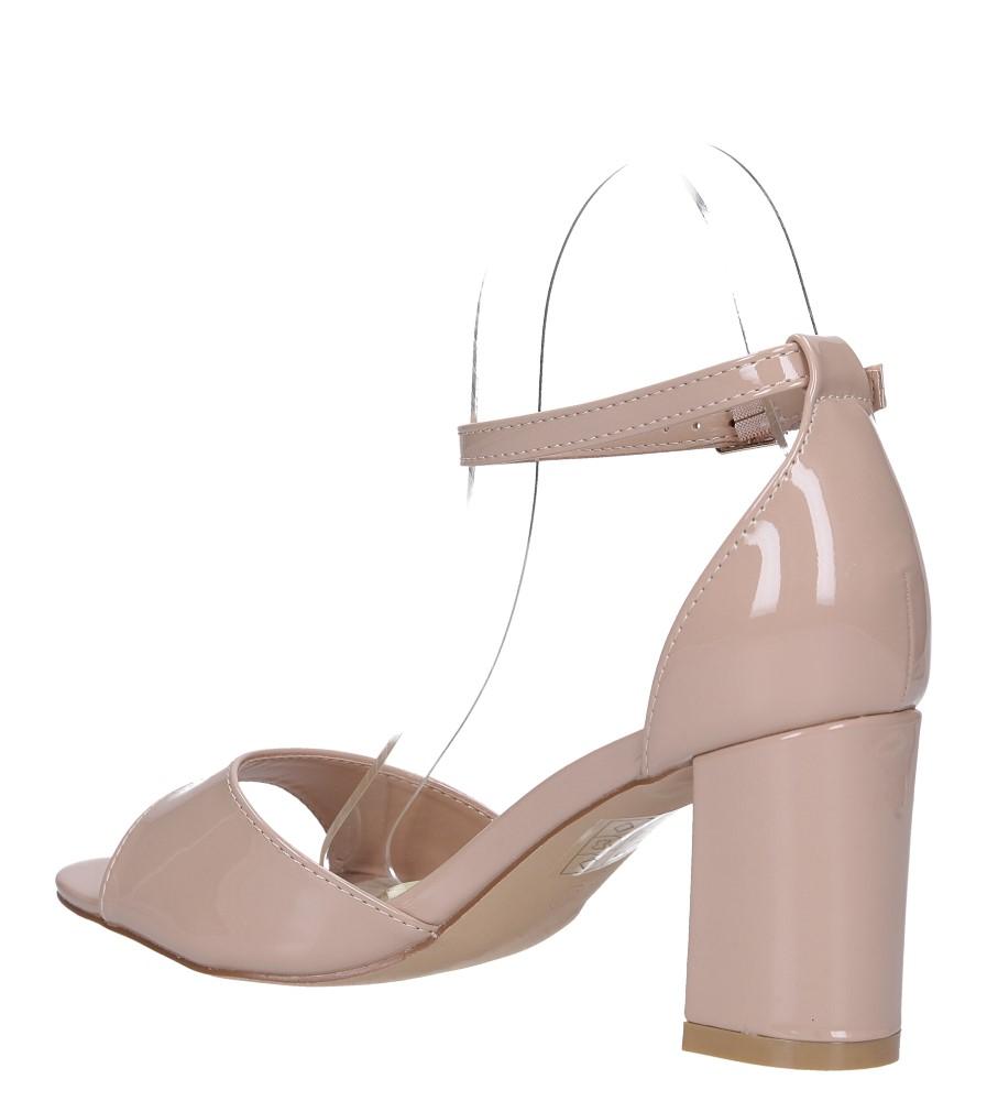Beżowe sandały lakierowane ze skórzaną wkładką z zakrytą piętą i paskiem wokół kostki Casu N19X4/NP wysokosc_platformy 0.5 cm