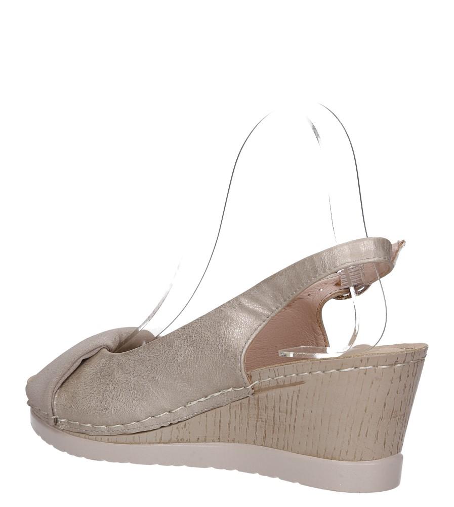 Beżowe sandały na koturnie Casu W19X13/B wys_calkowita_buta 11.5 cm