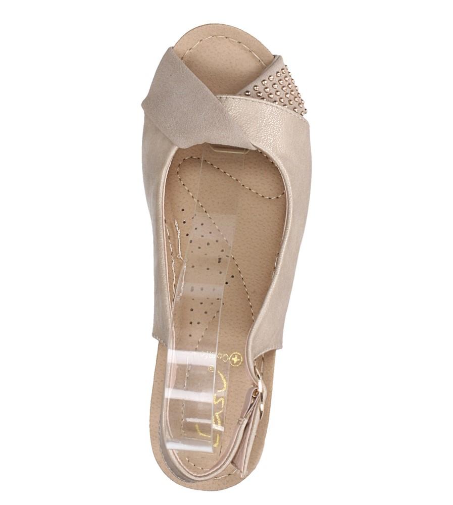 Beżowe sandały na koturnie Casu W19X13/B wierzch skóra ekologiczna - nubuk