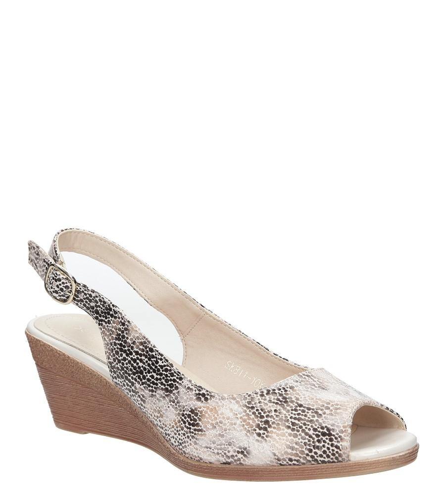Beżowe sandały na koturnie w kwiaty mozaika Sergio Leone SK811- 10X