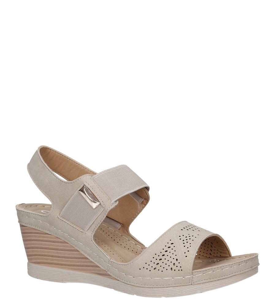 Beżowe sandały na koturnie z gumką Casu SN19X6/BE